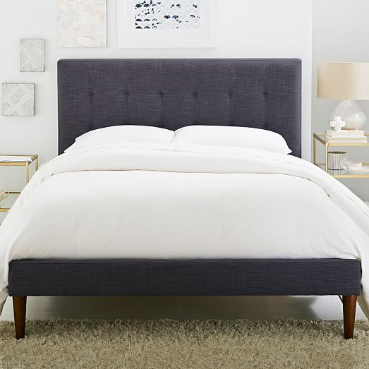 tufted bed grid-tufted upholstered tapered leg bed | west elm BHHCXZT