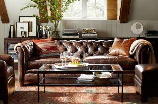 tufted leather sofa chesterfield leather sofa | pottery barn XOQYGDU