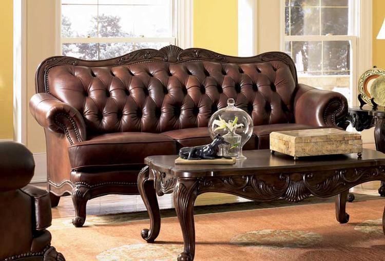 tufted leather sofa elizabeth traditional leather sofa with wood trim NJFZWIA