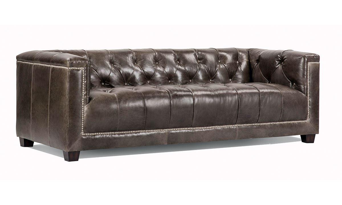 tufted leather sofa picture of preston hand-tufted top-grain leather tuxedo sofa RHPUENS