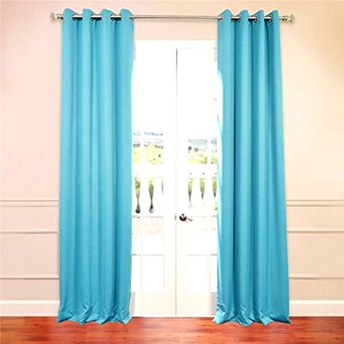 turquoise curtains (#32) hotel quality silver grommet top, faux silk 1 panel turquoise solid OTHICGO