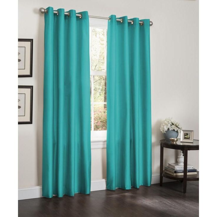 turquoise curtains kashi erin faux silk insulated blackout 90-inch curtain panel pair ( turquoise), blue, LDGMUMR