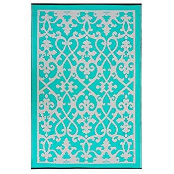 turquoise rug fab habitat venice indoor/outdoor recycled plastic rug, cream u0026 turquoise,  (4u0027 x RJTXRRK