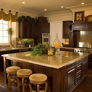 tuscan kitchen decor - loved counter tops against dark wood. UNXGUMG