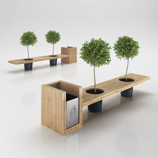 urban furniture wooden eco design bench with integrated trash bin   3d model. urban ZJLZLIX
