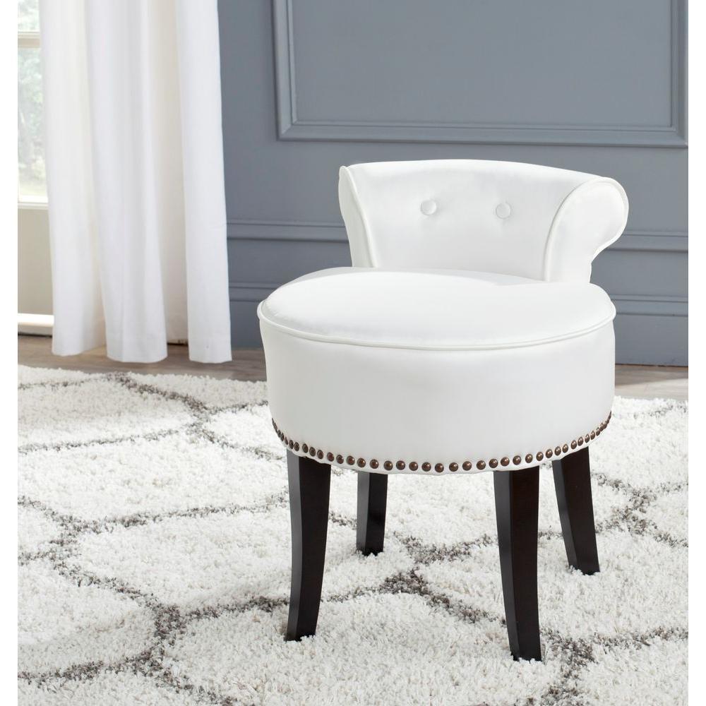 vanity chair safavieh georgia taupe linen vanity stool-mcr4546a - the home depot BCFAVSZ