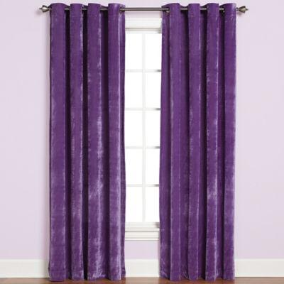 velvet drapes plush grommet top 84-inch window curtain panel in purple GTFNZEN