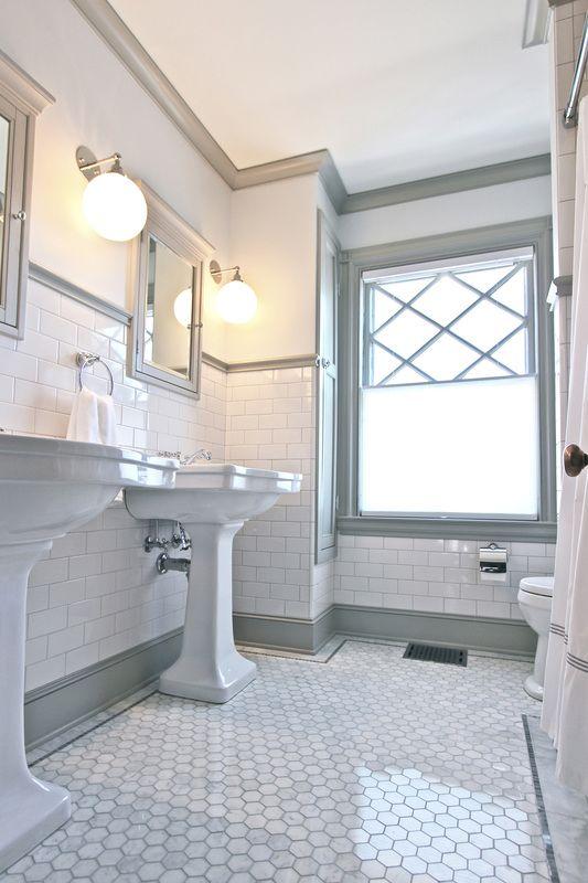 victorian bathrooms quarter design studio | victorian bathroom | melrose, ma - marble hex floor VINHVEW