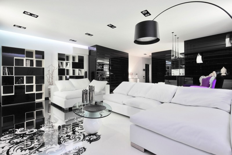 Choosing sophiscated and elegant colour like black and white living room