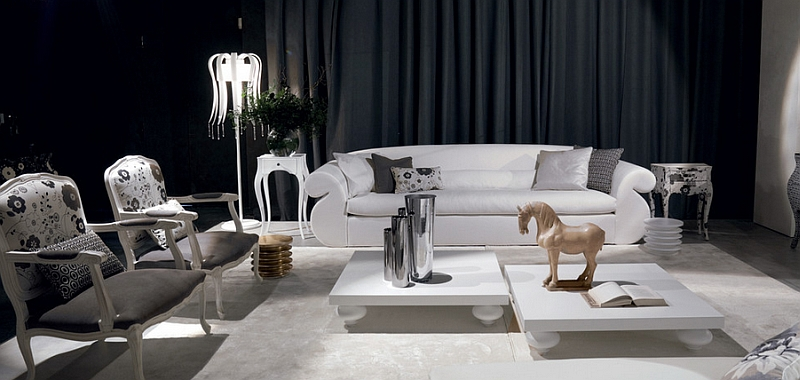 view in gallery exquisite black and white living room with sculptural  additions GUVRJVT