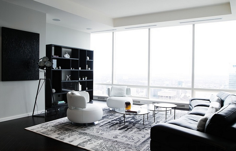 view in gallery posh black and white living room with plenty of natural VILCMPY