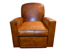 vintage french leather club chair TSLMJNB