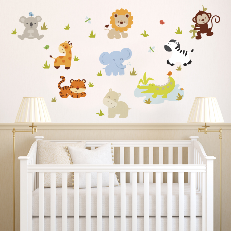 wall decals for nursery baby zoo animals - printed wall decals MQXQSWI