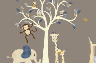 wall decals for nursery cream tree decal, denim color, boy room wall decal, jungle animal decal, nursery PHXSEIV