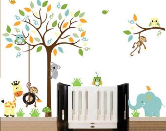wall decals for nursery wall decals nursery, tree wall nursery, nursery wall decal, tree decal,  chevron ZJIOVDN