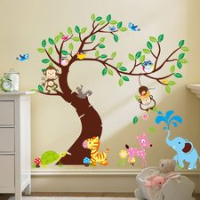 wall stickers for kids curved tree with forest friends and monkeys wall decal AWFDCUV