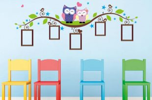 wall stickers for kids owl tree branch photo frames wall decal removable wall stickers kids room JKPAJOV