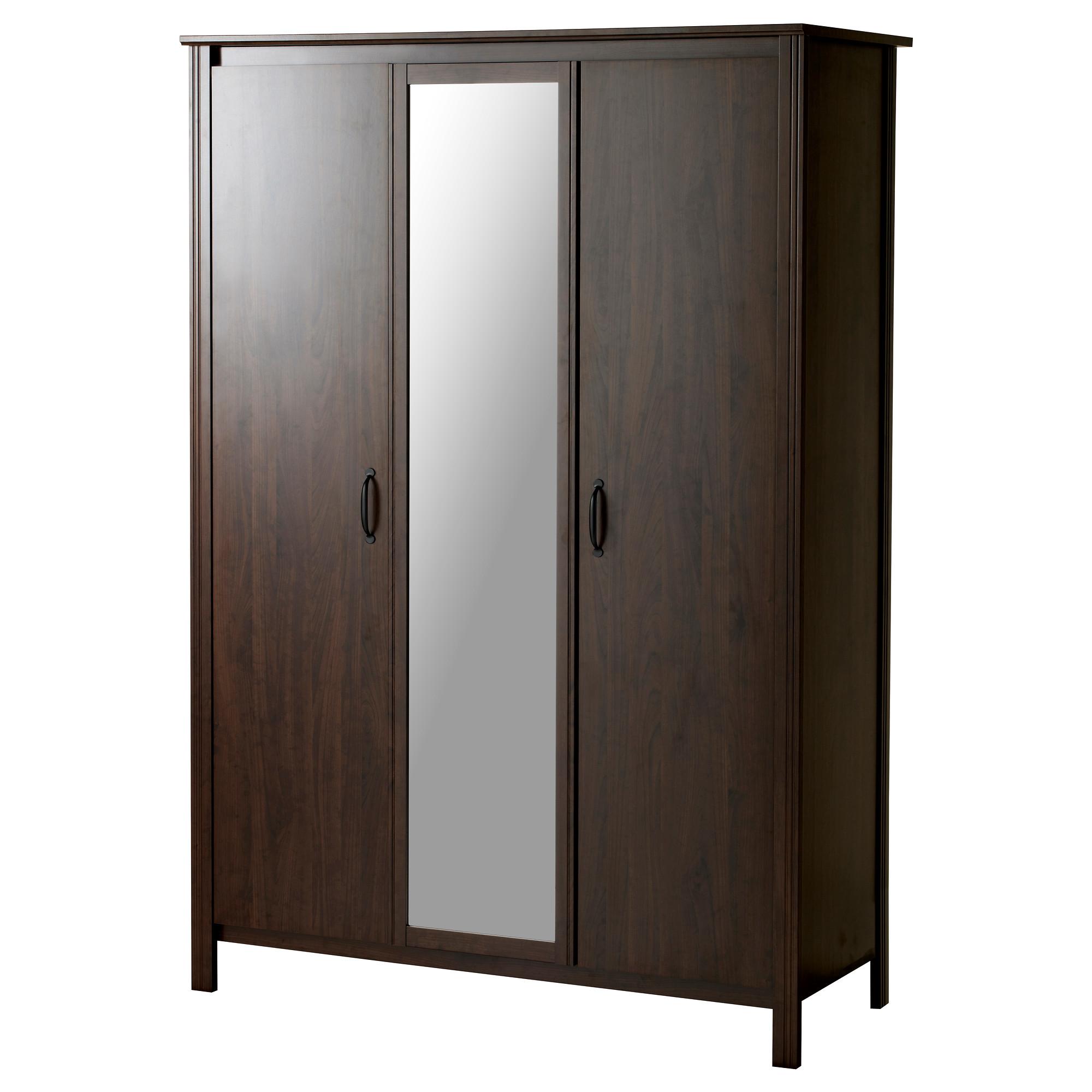 wardrobe armoire brusali wardrobe with 3 doors, brown width: 51 5/8  FJNXEAT