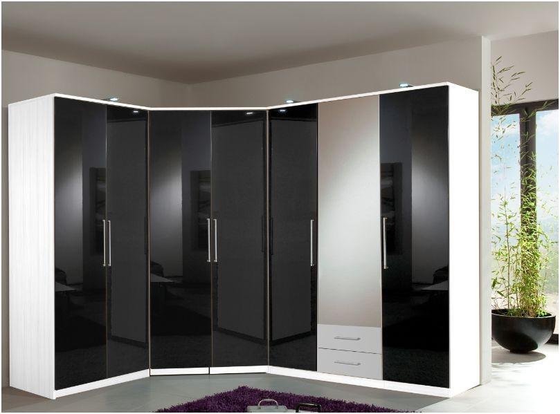 wardrobe sets berlin 7 door wardrobe set gloss black u0026 matt alpine white YPIOQES