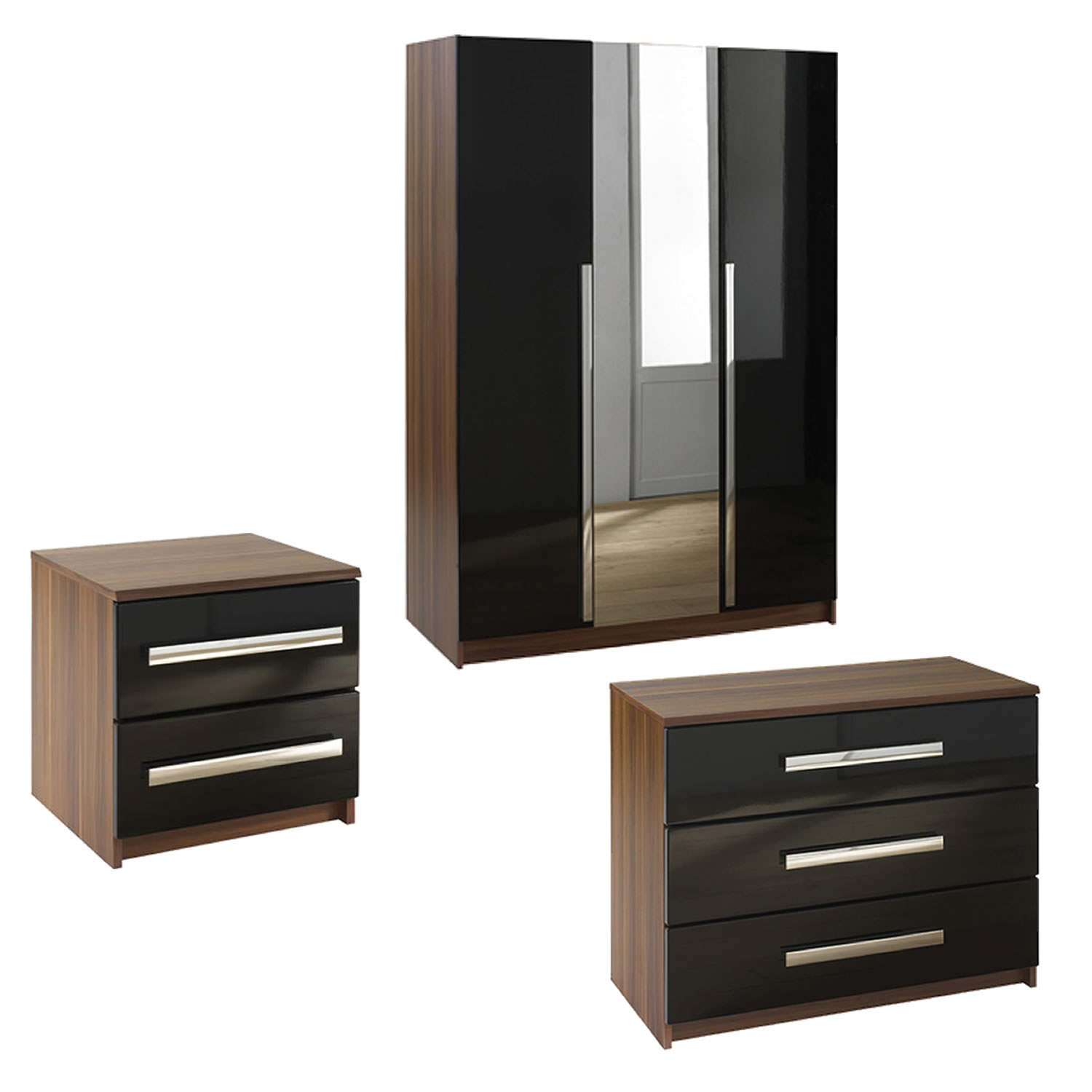 wardrobe sets las vegas 3 door wardrobe, bedside and chest of drawers set - next GSLBLOJ