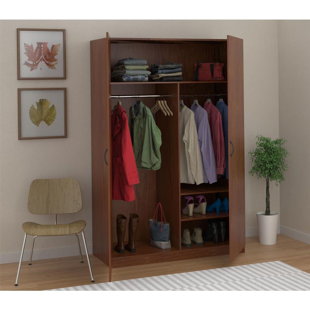 wardrobe storage closet with hanging rod and 2-shelves in american cherry NVBCFEJ
