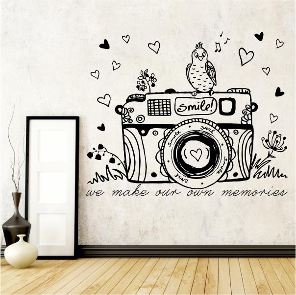 whimsical camera vinyl wall art KQDRTDL