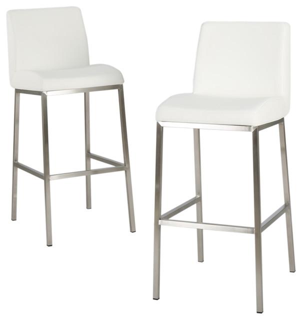 white bar stools jalen leather bar stools, set of 2, white contemporary-bar-stools- MOAKXCL