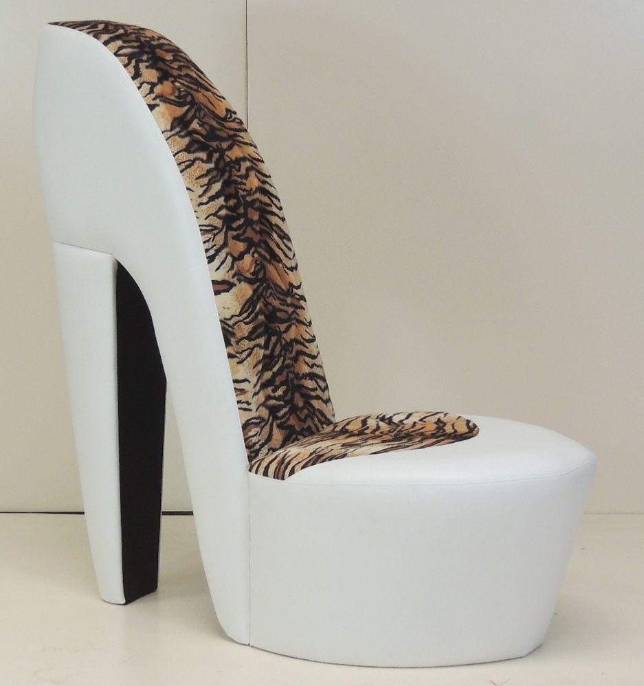 white stiletto / shoe / high heel chair tiger / animal print NOEQASQ