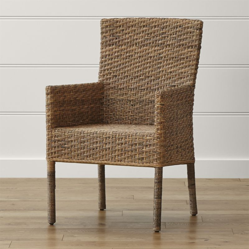 wicker dining chairs tigris dining arm chair | crate and barrel HUFOOGT