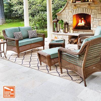 wicker patio furniture customize your patio set QCVMBAJ