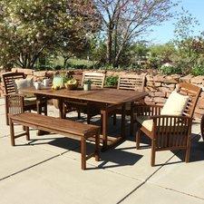widmer 6-piece acacia patio dining set with cushions HIXOICJ