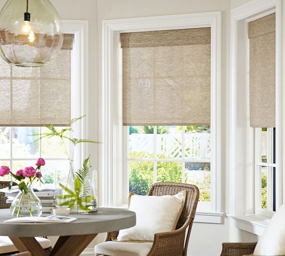 window coverings natural fiber cordless roman shade | pottery barn ZCXXDED