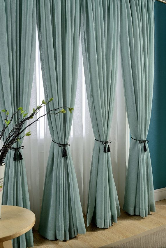 window curtain delicate light teal linen blend sheer curtain made to by tailor2u ALAAEHR