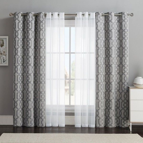 window panels vcny 4-pack barcelona double-layer curtain set, gray ($32) ❤ SUFNWEP