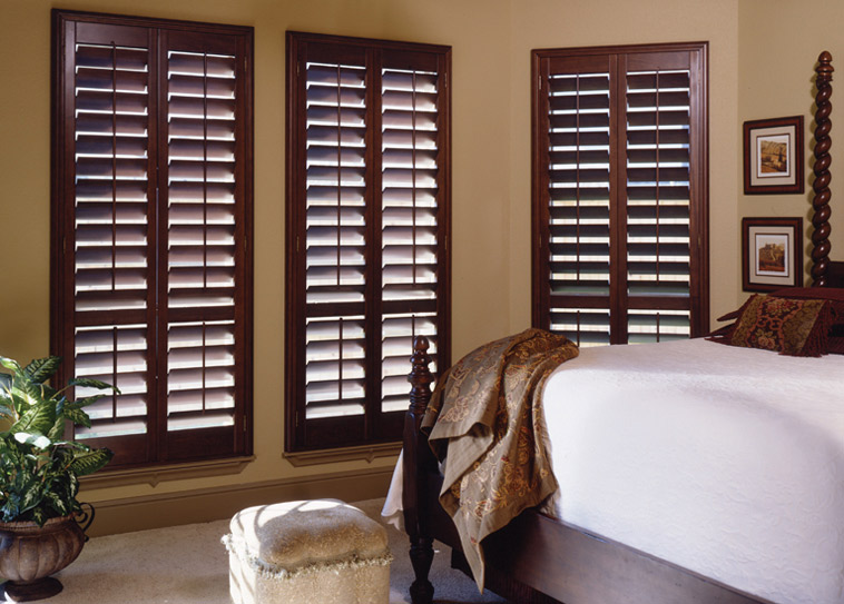 window shutters budget blinds dark wood plantation shutters GEZPFTP