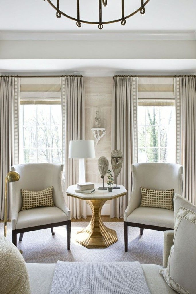 window treatment ideas: roman shades and drapery panels CVVJONX