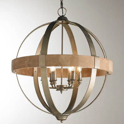 wood chandelier metal and wood globe chandelier - 6-light VDSKEVN