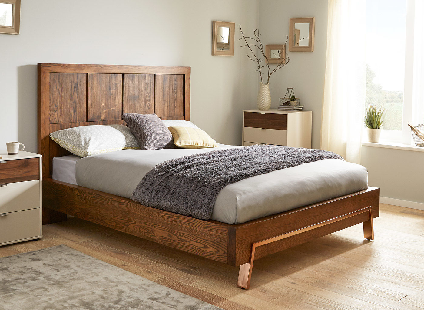 wooden beds grant dark wood and copper bed frame IEALFFO