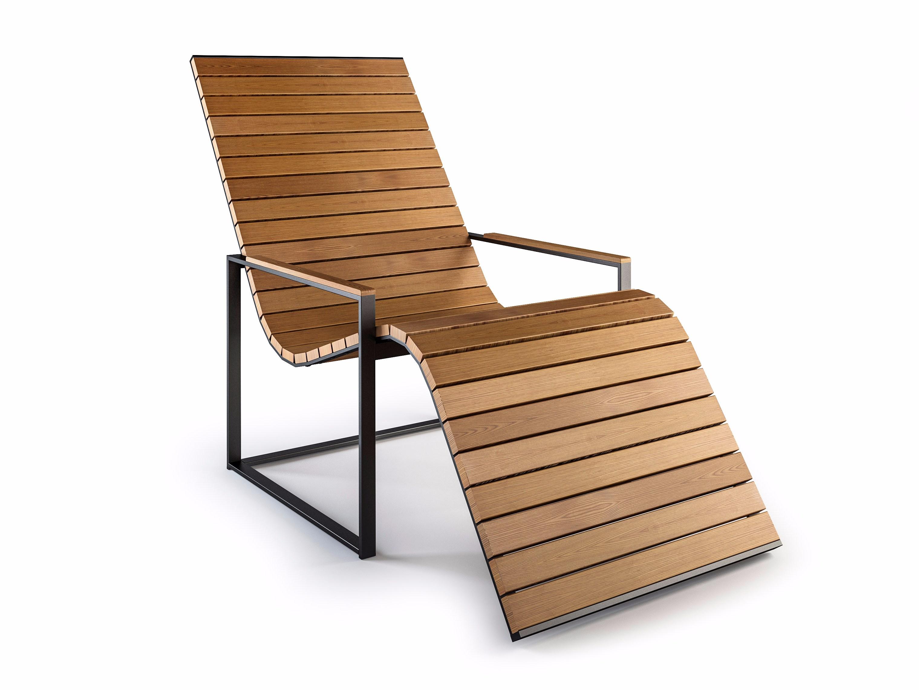 wooden deck chair with armrests garden sun chair by röshults design brda - NQOQDTQ