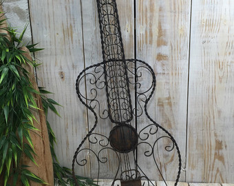wrought iron wall decor wrought iron guitar decor, iron wall decor, blacksmith made, metal wall art, GXCGIIV