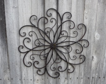 wrought iron wall decor wrought iron swirl flower center design wall art ~ photo collage metal TJBTCRW