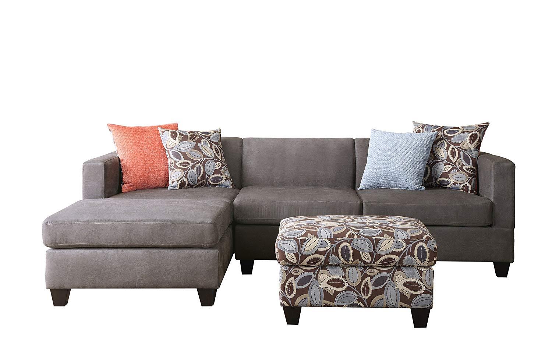 3 piece sectional sofa amazon.com: bobkona poundex simplistic collection 3-piece sectional sofa  with ottoman, charcoal: kitchen ELLZOAE