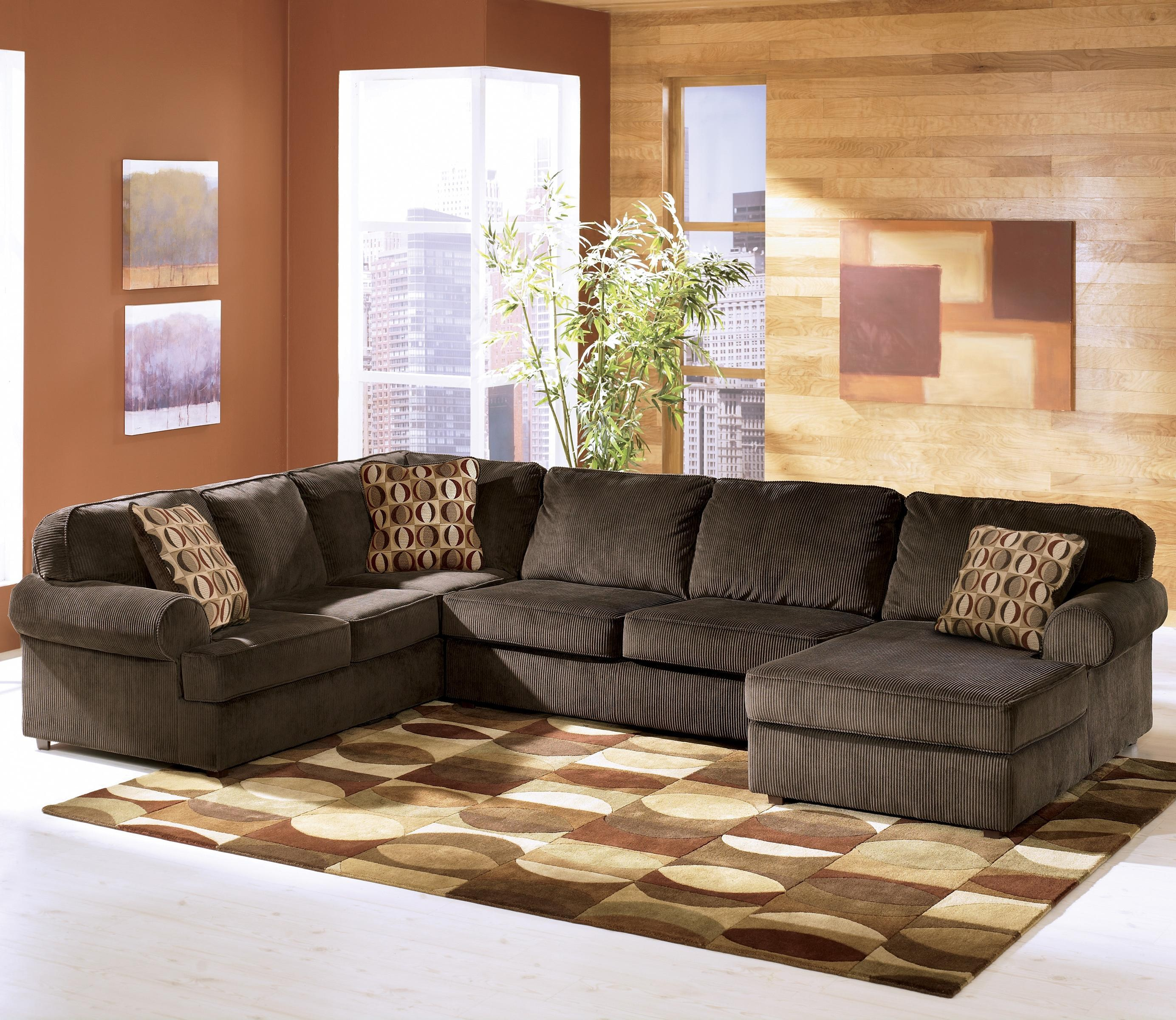 3 piece sectional sofa ashley furniture vista - chocolate casual 3-piece sectional with right  chaise RPUMWPR