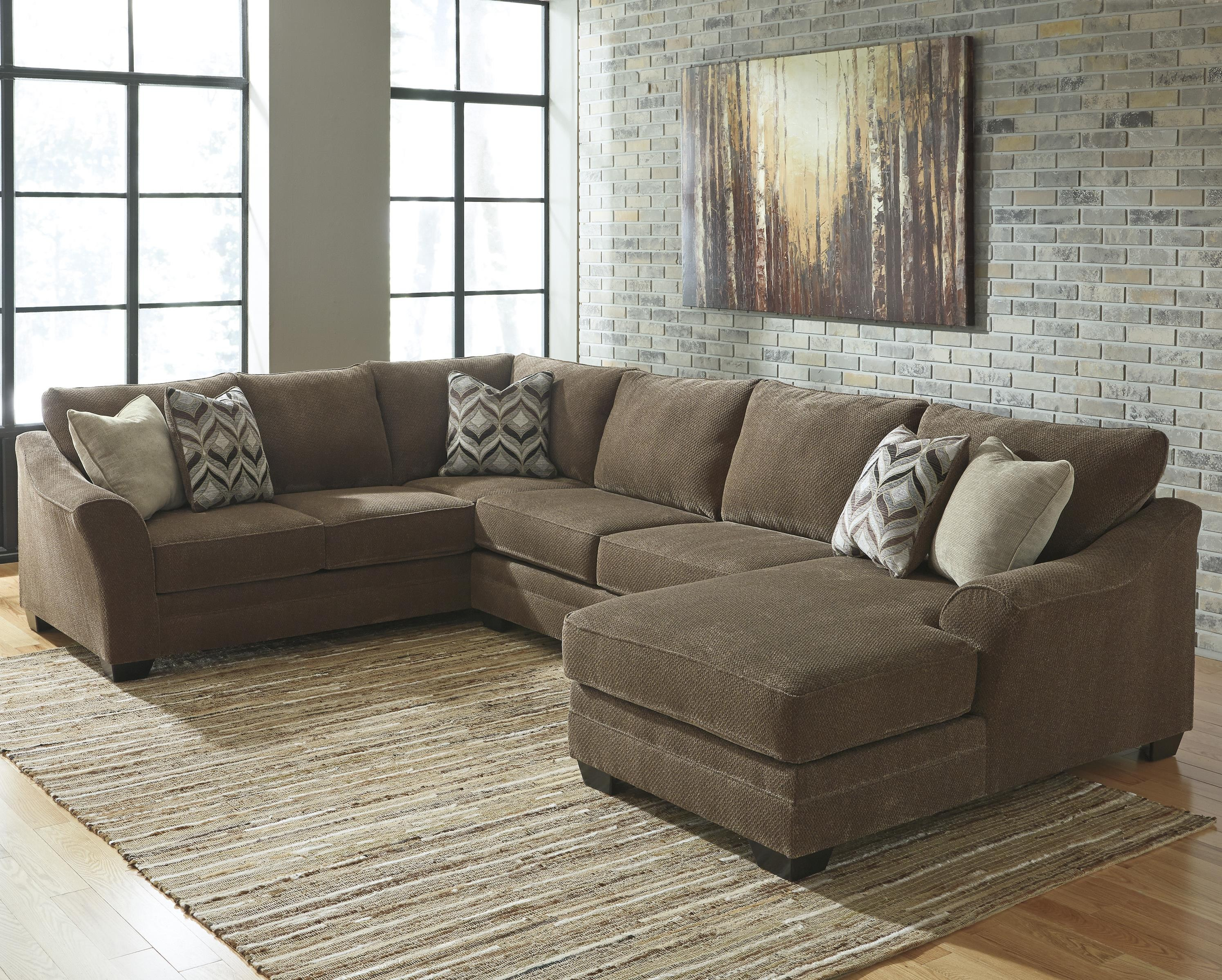3 piece sectional sofa benchcraft justyna contemporary 3-piece sectional with right chaise JMUKONF
