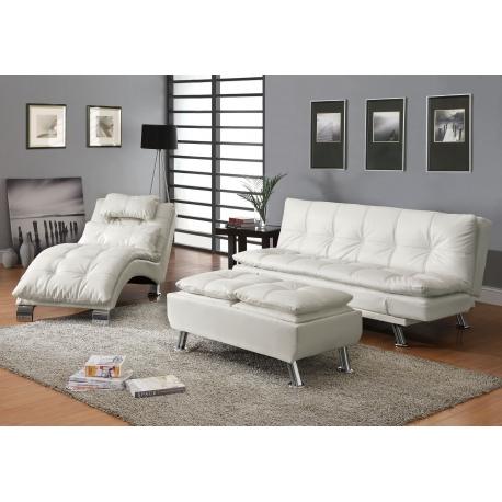 3 pieces dilleston white futon sleeper sofa bed set ARPVRLP