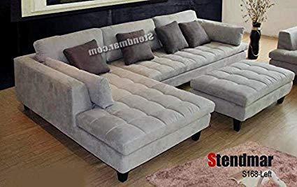 3pc contemporary grey microfiber sectional sofa chaise ottoman s168lg QDRWREG