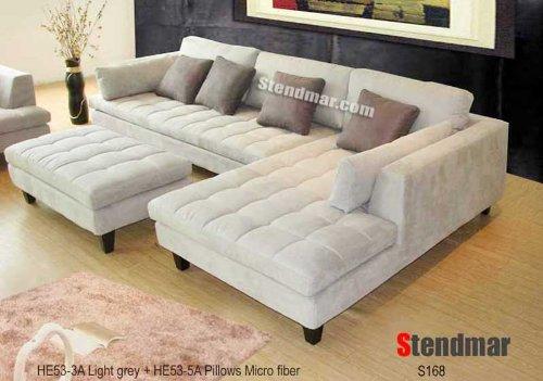 3pc new modern gray microfiber sectional sofa s168rg XJTYZBU