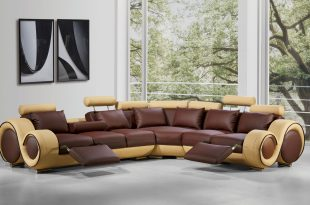 4087 modern leather sectional sofa with recliners EVGVKJE