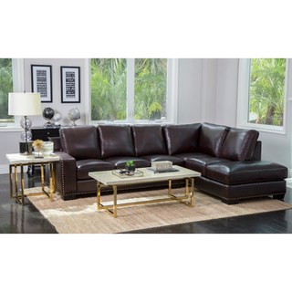abbyson monaco brown top grain leather sectional sofa VSXMIJH