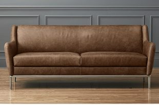 alfred distressed brown leather sofa + reviews | cb2 LNJESAY